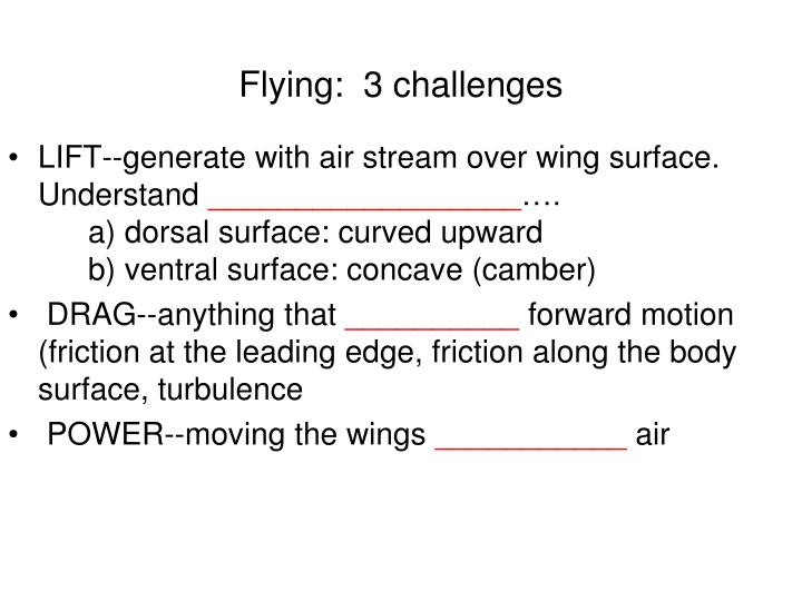 Flying:  3 challenges