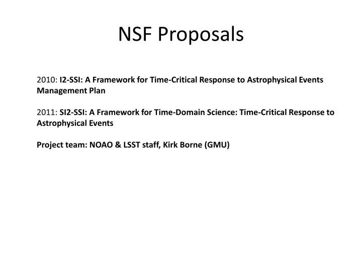 NSF Proposals