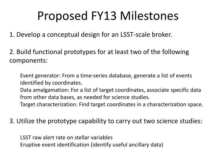 Proposed FY13 Milestones