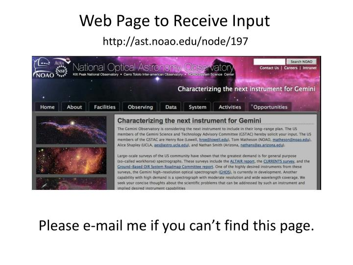 Web Page to Receive Input
