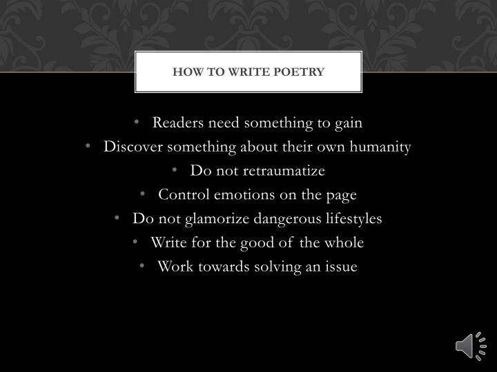 How to write confessional poetry