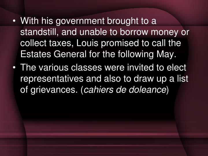 With his government brought to a standstill, and unable to borrow money or collect taxes, Louis promised to call the Estates General for the following May.