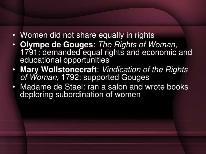 Women did not share equally in rights