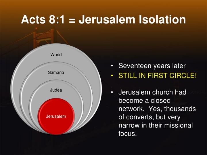 Acts 8:1 = Jerusalem Isolation