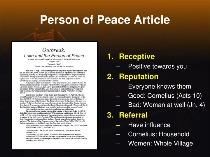 Person of Peace Article