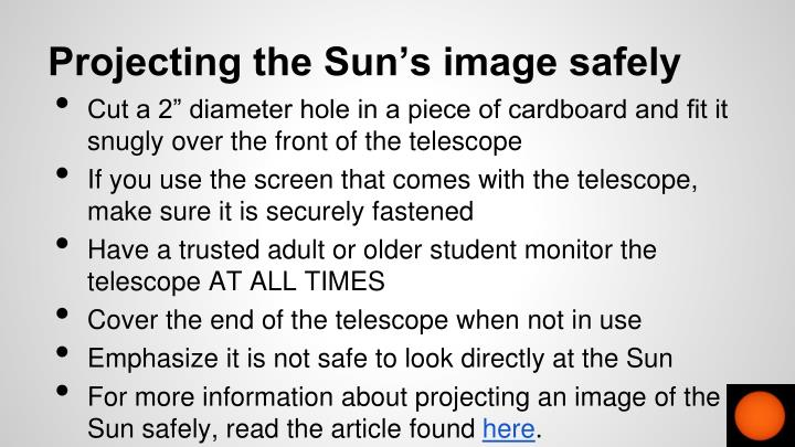 Projecting the Sun's image safely