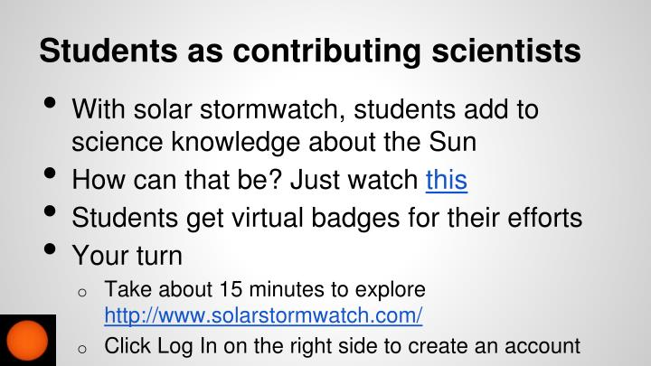 Students as contributing scientists