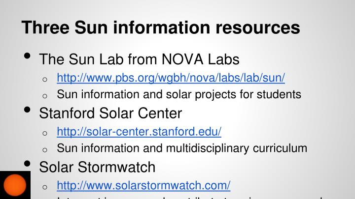 Three Sun information resources