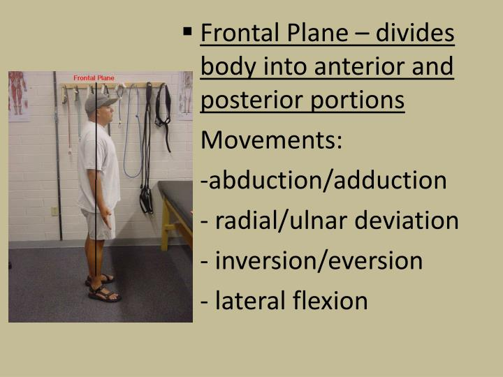 Frontal Plane – divides body into anterior and posterior portions