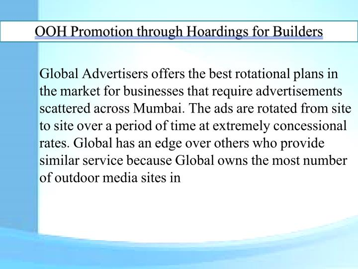 OOH Promotion through Hoardings for Builders