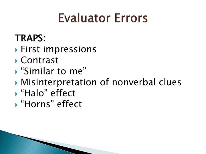 Evaluator Errors