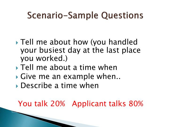 Scenario-Sample Questions