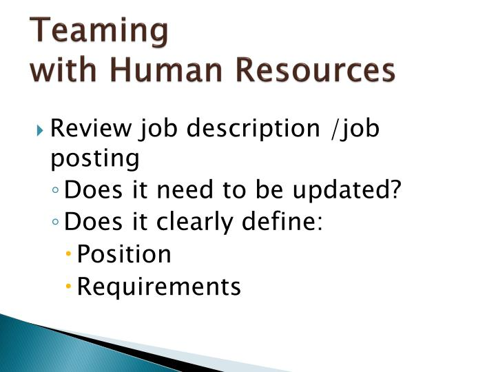 Teaming with human resources