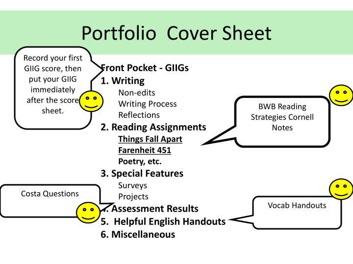 Portfolio  Cover Sheet