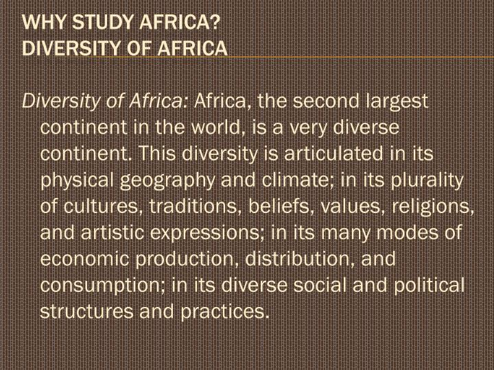 Diversity of Africa: