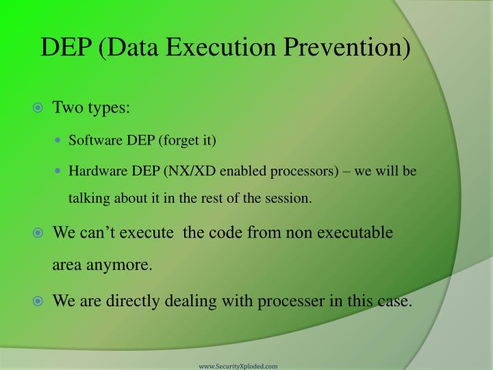 DEP (Data Execution Prevention)