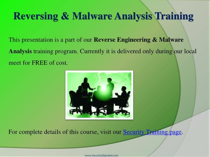 Reversing & Malware Analysis Training