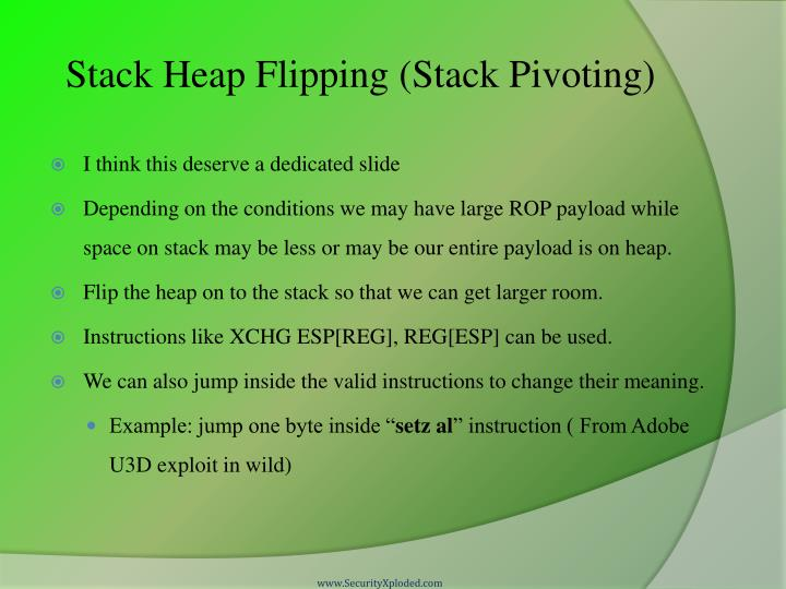 Stack Heap Flipping (Stack Pivoting)