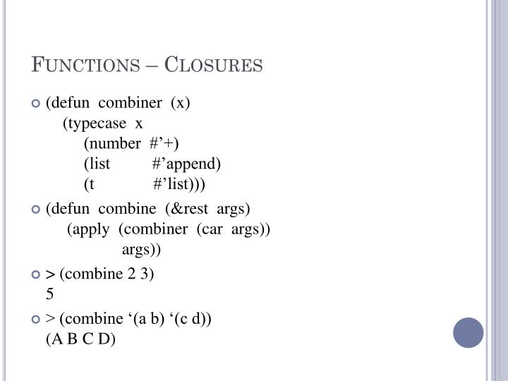 Functions – Closures