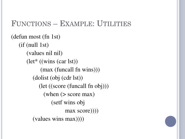 Functions – Example: Utilities