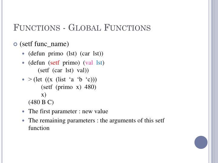 Functions - Global Functions