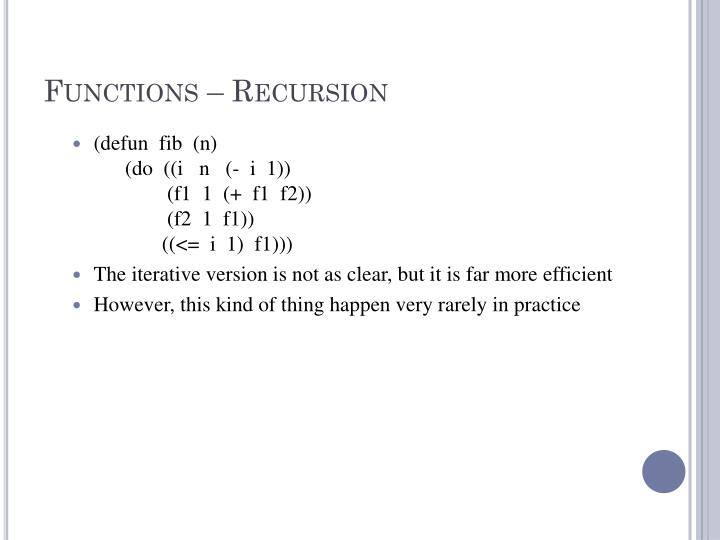 Functions – Recursion