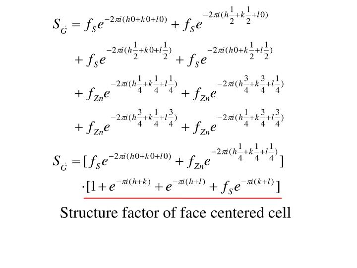 Structure factor of face centered cell