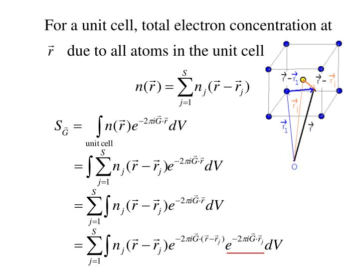 For a unit cell, total electron concentration at