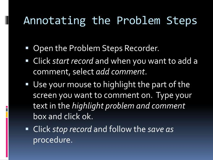 Annotating the Problem Steps