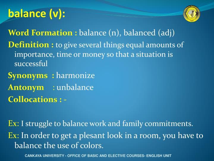 balance (v):