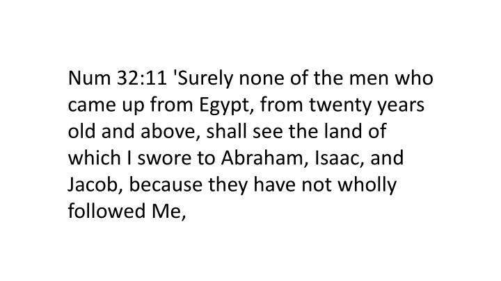 Num 32:11 'Surely none of the men who came up from Egypt, from twenty years old and above, shall see the land of which I swore to Abraham, Isaac, and Jacob, because they have not wholly followed Me,