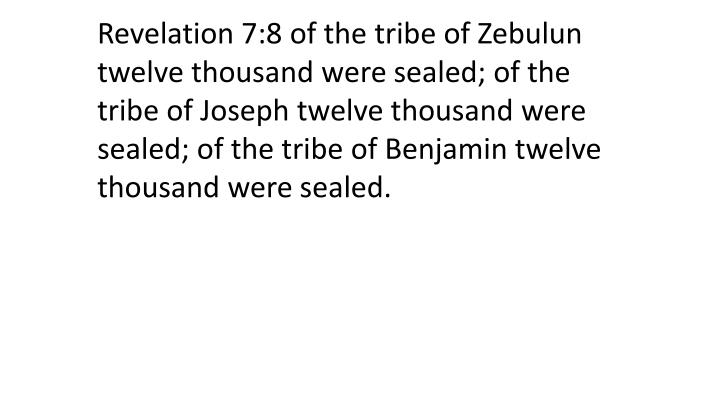 Revelation 7:8 of the tribe of