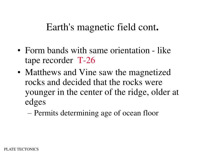 Earth's magnetic field cont