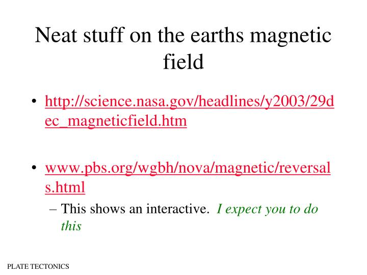 Neat stuff on the earths magnetic field