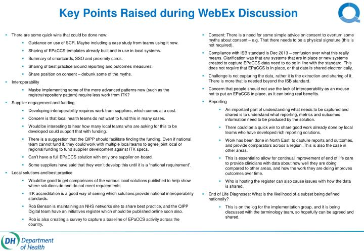 Key Points Raised during WebEx Discussion