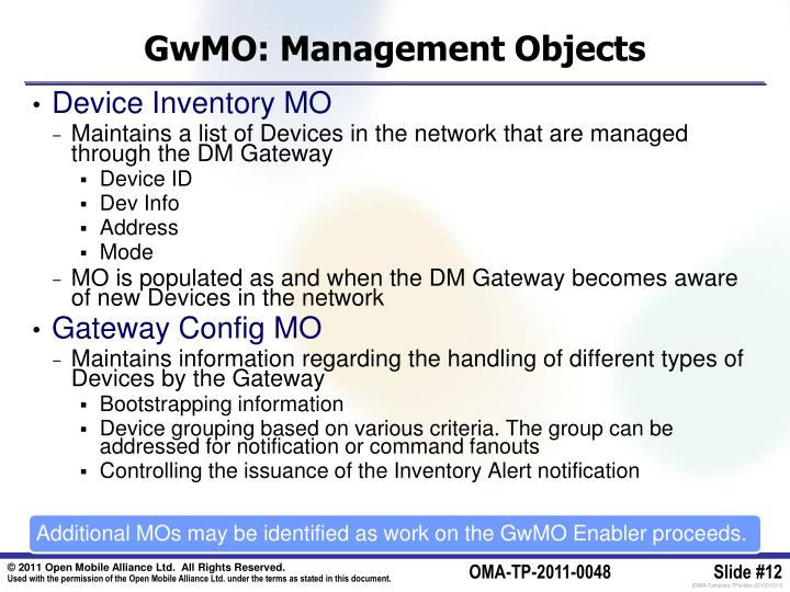 GwMO: Management Objects