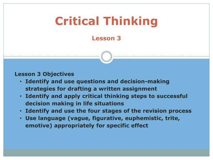Critical thinking lesson 3