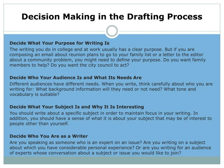 Decision making in the drafting process1