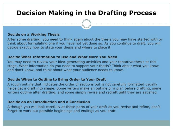 Decision Making in the Drafting Process