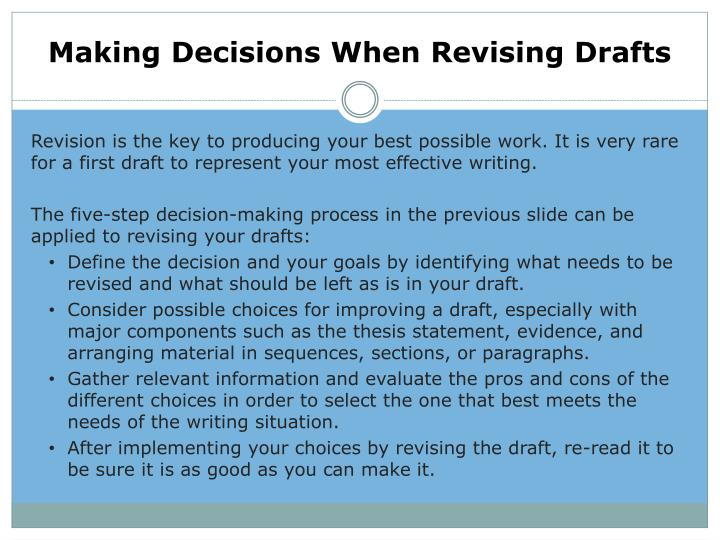Making Decisions When Revising Drafts