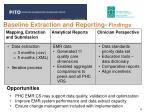 baseline extraction and reporting findings