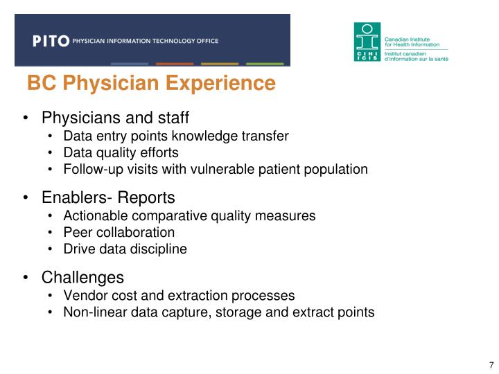 BC Physician Experience