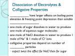 dissociation of electrolytes colligative properties