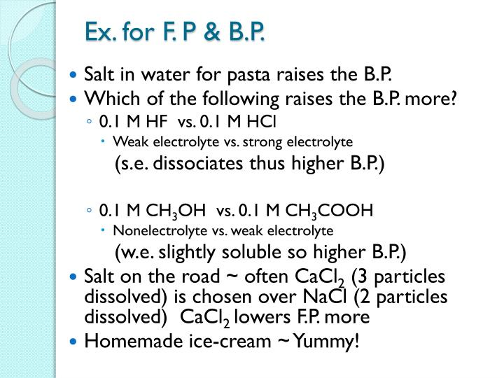 Ex. for F. P & B.P.