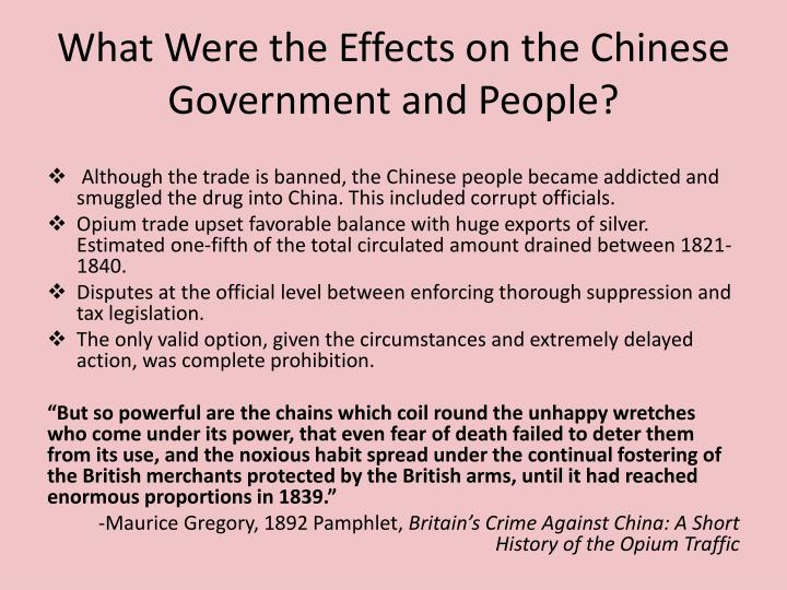 What were the effects on the chinese government and people