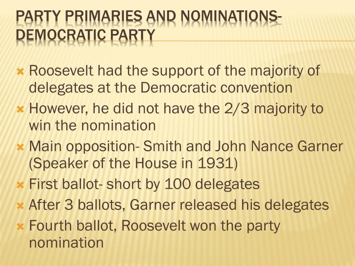 Roosevelt had the support of the majority of delegates at the Democratic convention