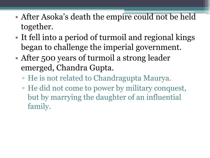 After Asoka's death the empire could not be held together.