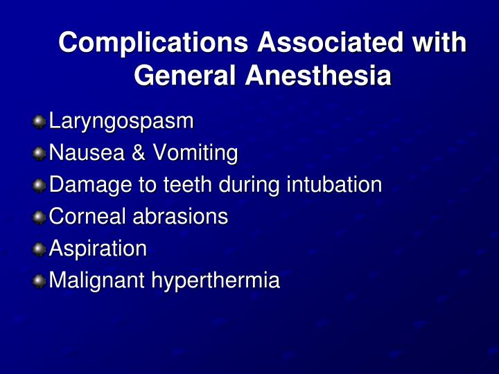 Complications Associated with General Anesthesia