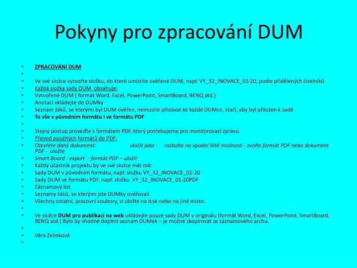Pokyny pro zpracování DUM