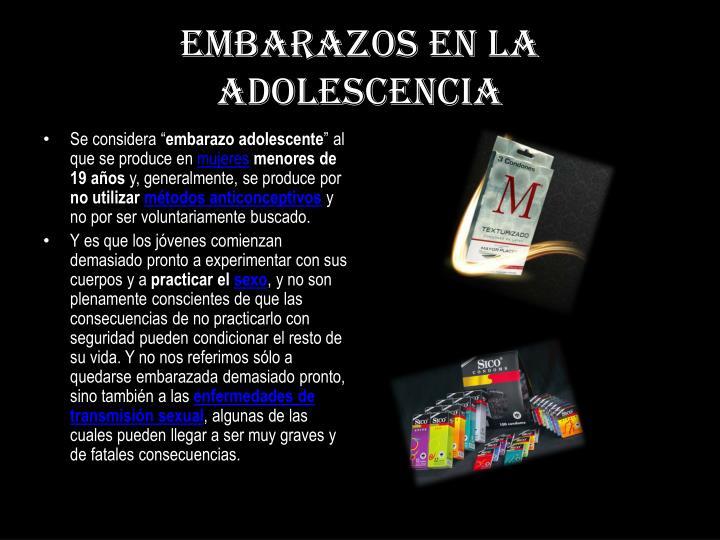 EMBARAZOS en la adolescencia